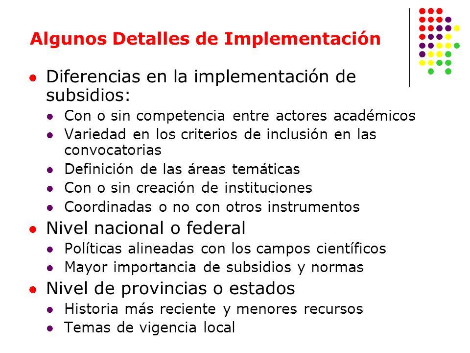 Diferencias en la implementación de subsidios: Con o sin competencia entre actores académicos Variedad en los criterios de inclusión en las convocator