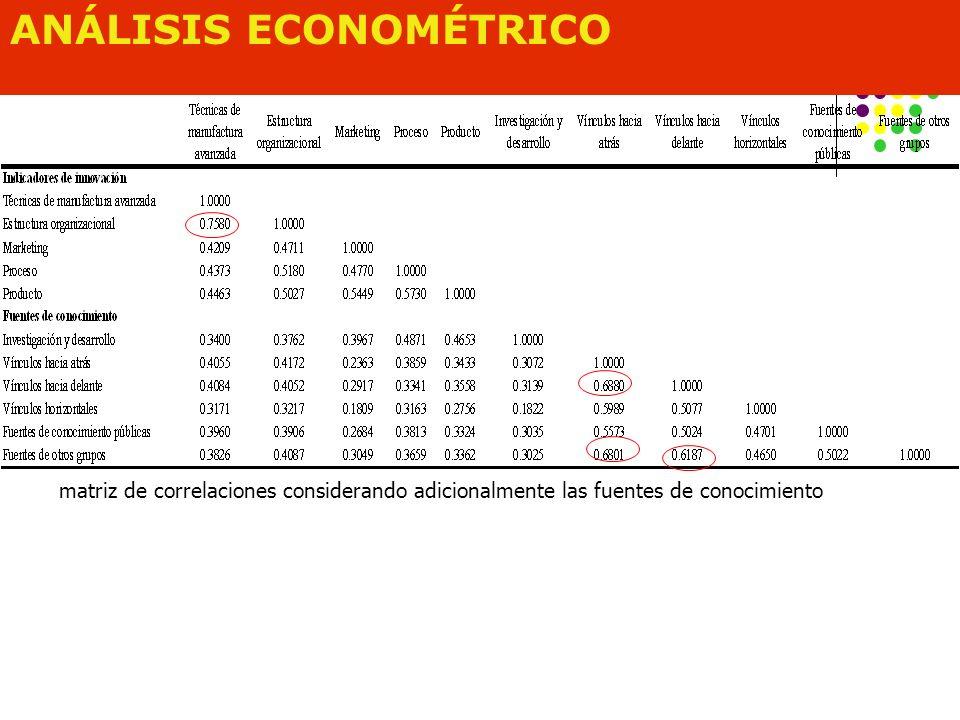 ANÁLISIS ECONOMÉTRICO matriz de correlaciones considerando adicionalmente las fuentes de conocimiento