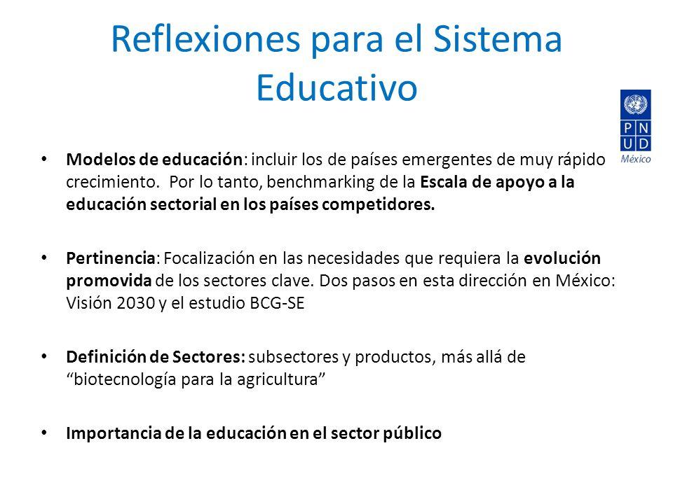 Reflexiones para el Sistema Educativo Modelos de educación: incluir los de países emergentes de muy rápido crecimiento.