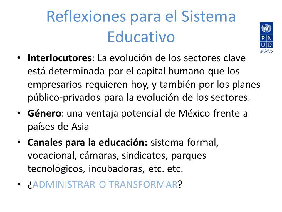 Reflexiones para el Sistema Educativo Interlocutores: La evolución de los sectores clave está determinada por el capital humano que los empresarios requieren hoy, y también por los planes público-privados para la evolución de los sectores.