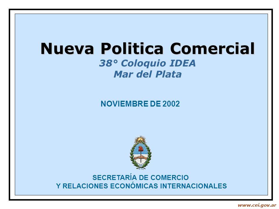 www.cei.gov.ar NOVIEMBRE DE 2002 SECRETARÍA DE COMERCIO Y RELACIONES ECONÓMICAS INTERNACIONALES Nueva Politica Comercial 38° Coloquio IDEA Mar del Pla