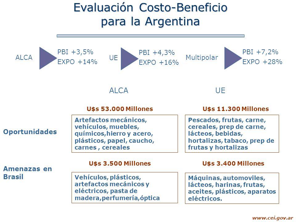 www.cei.gov.ar Evaluación Costo-Beneficio para la Argentina ALCA PBI +3,5% EXPO +14% UE PBI +4,3% EXPO +16% Multipolar PBI +7,2% EXPO +28% Oportunidad
