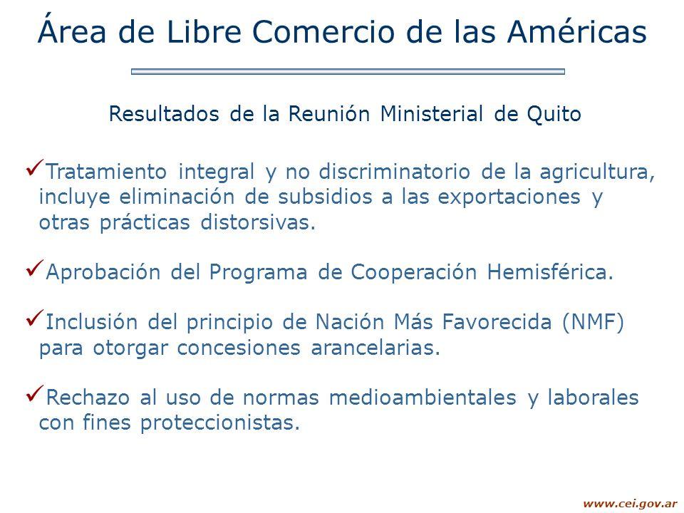 www.cei.gov.ar Tratamiento integral y no discriminatorio de la agricultura, incluye eliminación de subsidios a las exportaciones y otras prácticas dis