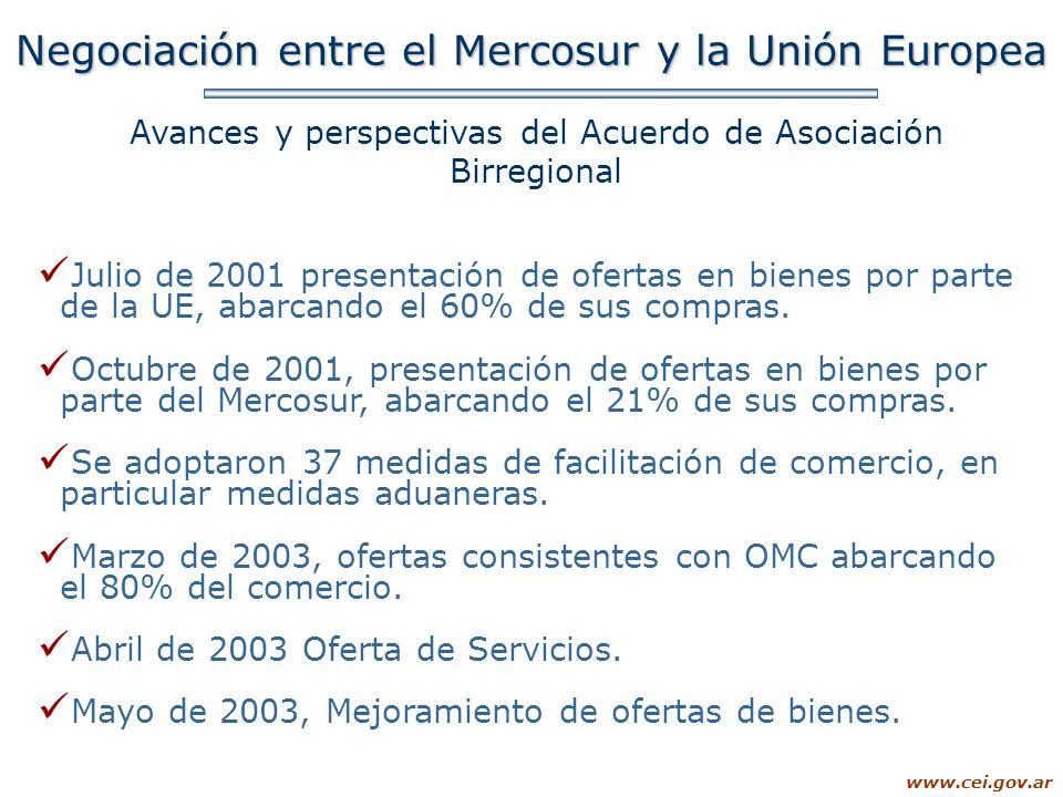 www.cei.gov.ar Negociación entre el Mercosur y la Unión Europea Avances y perspectivas del Acuerdo de Asociación Birregional Julio de 2001 presentació