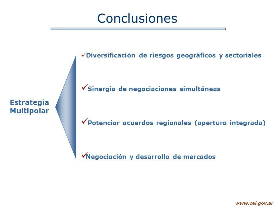 www.cei.gov.ar Conclusiones Estrategia Multipolar Diversificación de riesgos geográficos y sectoriales Sinergia de negociaciones simultáneas Potenciar