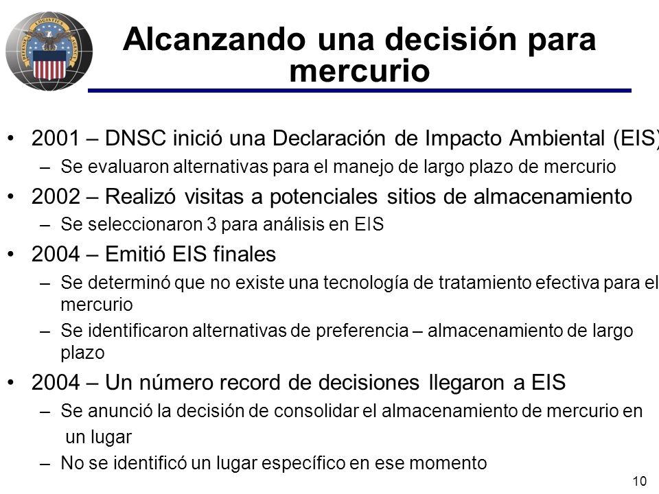 10 Alcanzando una decisión para mercurio 2001 – DNSC inició una Declaración de Impacto Ambiental (EIS) –Se evaluaron alternativas para el manejo de largo plazo de mercurio 2002 – Realizó visitas a potenciales sitios de almacenamiento –Se seleccionaron 3 para análisis en EIS 2004 – Emitió EIS finales –Se determinó que no existe una tecnología de tratamiento efectiva para el mercurio –Se identificaron alternativas de preferencia – almacenamiento de largo plazo 2004 – Un número record de decisiones llegaron a EIS –Se anunció la decisión de consolidar el almacenamiento de mercurio en un lugar –No se identificó un lugar específico en ese momento