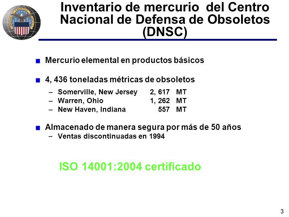 3 Inventario de mercurio del Centro Nacional de Defensa de Obsoletos (DNSC) Mercurio elemental en productos básicos 4, 436 toneladas métricas de obsoletos –Somerville, New Jersey 2, 617 MT –Warren, Ohio 1, 262 MT –New Haven, Indiana 557 MT Almacenado de manera segura por más de 50 años – Ventas discontinuadas en 1994 ISO 14001:2004 certificado