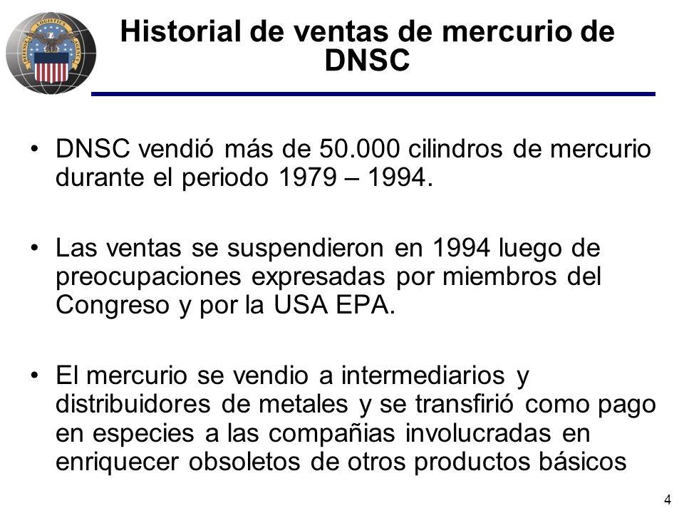 4 Historial de ventas de mercurio de DNSC DNSC vendió más de 50.000 cilindros de mercurio durante el periodo 1979 – 1994. Las ventas se suspendieron e