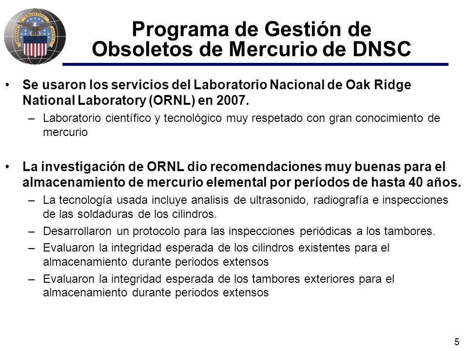 5 Programa de Gestión de Obsoletos de Mercurio de DNSC Se usaron los servicios del Laboratorio Nacional de Oak Ridge National Laboratory (ORNL) en 2007.
