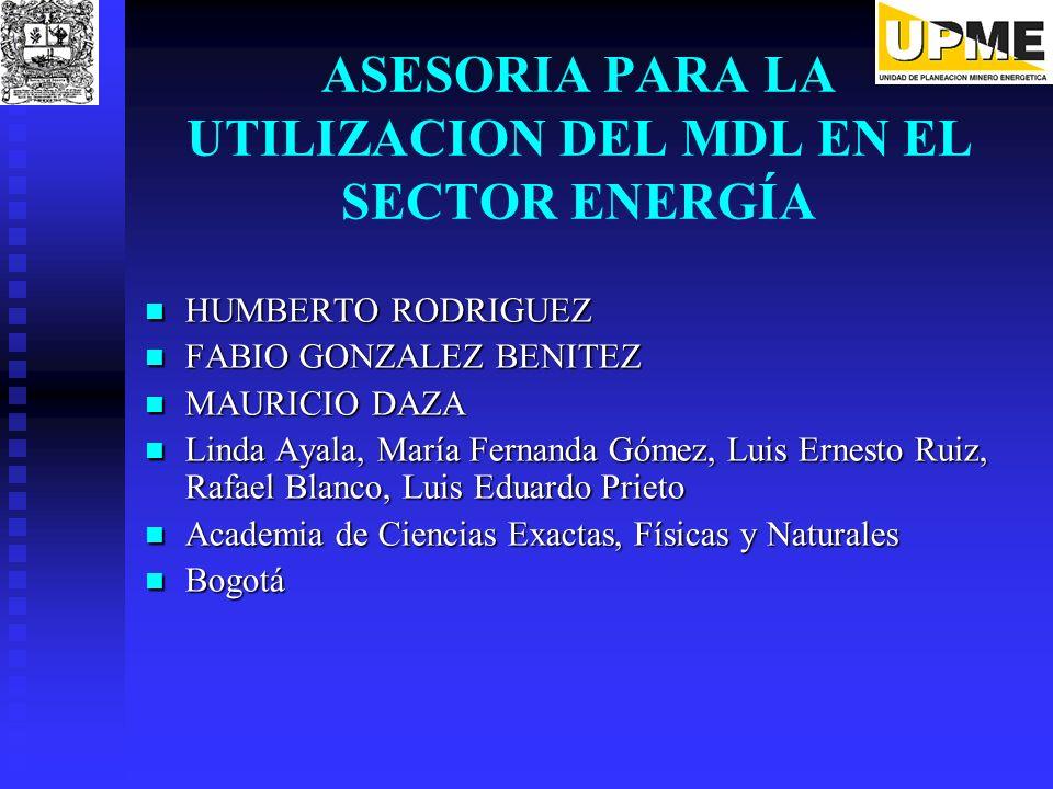 ASESORIA PARA LA UTILIZACION DEL MDL EN EL SECTOR ENERGÍA HUMBERTO RODRIGUEZ HUMBERTO RODRIGUEZ FABIO GONZALEZ BENITEZ FABIO GONZALEZ BENITEZ MAURICIO