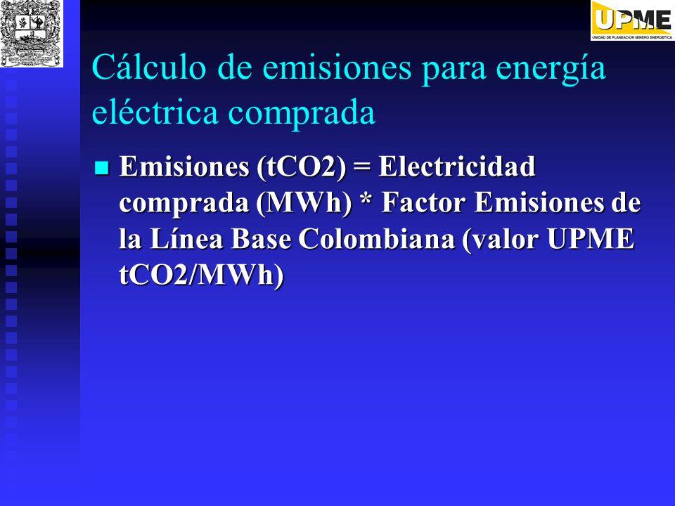 Cálculo de emisiones para energía eléctrica comprada Emisiones (tCO2) = Electricidad comprada (MWh) * Factor Emisiones de la Línea Base Colombiana (va