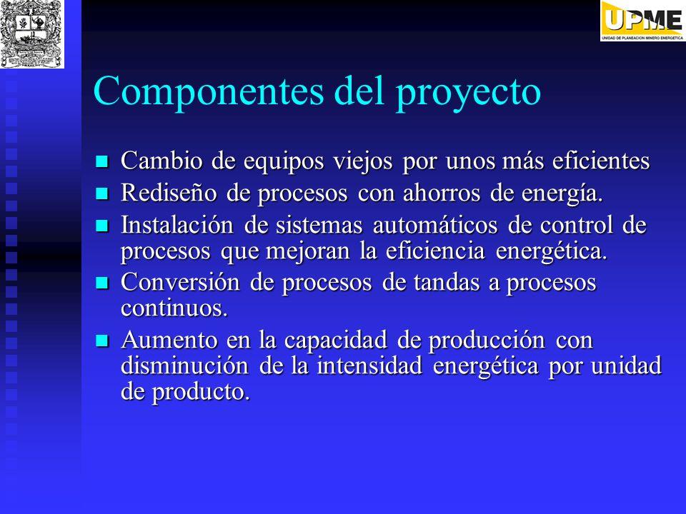 Componentes del proyecto Cambio de equipos viejos por unos más eficientes Cambio de equipos viejos por unos más eficientes Rediseño de procesos con ah