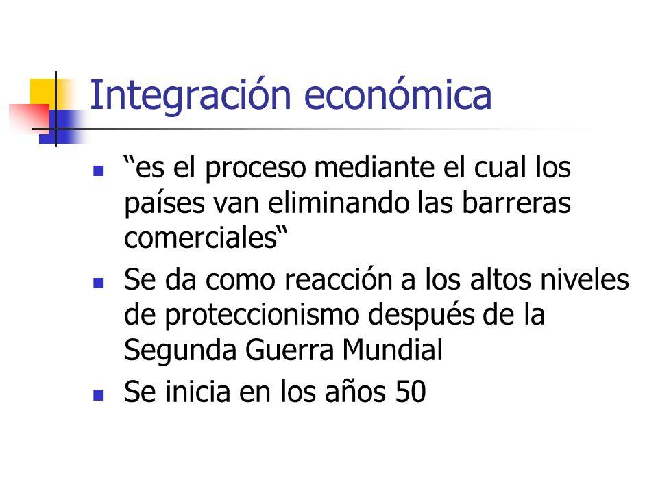 Integración económica es el proceso mediante el cual los países van eliminando las barreras comerciales Se da como reacción a los altos niveles de pro