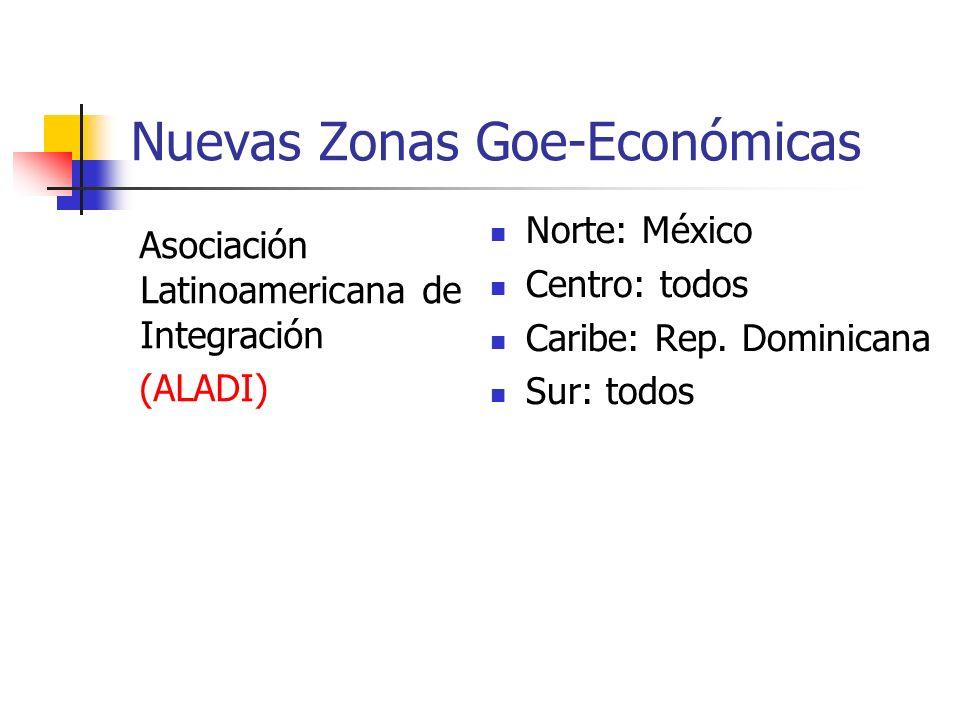 Nuevas Zonas Goe-Económicas Asociación Latinoamericana de Integración (ALADI) Norte: México Centro: todos Caribe: Rep. Dominicana Sur: todos