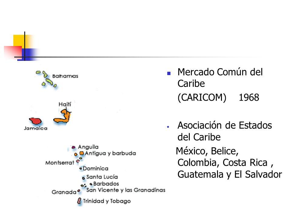Mercado Común del Caribe (CARICOM) 1968 Asociación de Estados del Caribe México, Belice, Colombia, Costa Rica, Guatemala y El Salvador