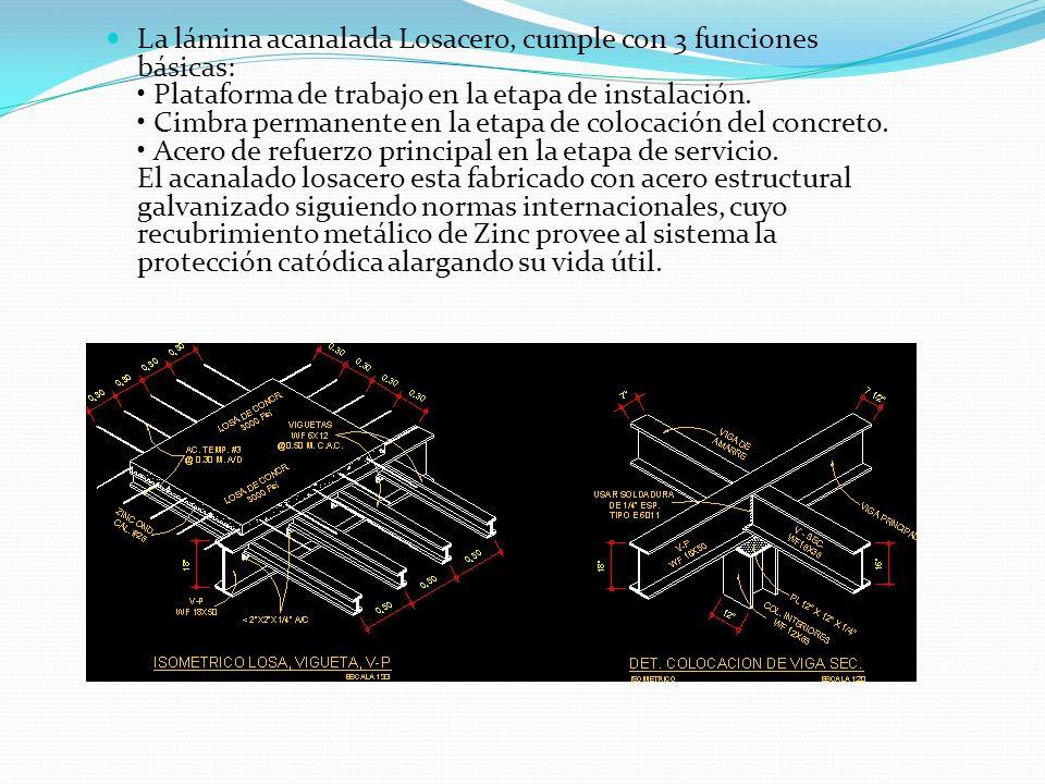 La lámina acanalada Losacero, cumple con 3 funciones básicas: Plataforma de trabajo en la etapa de instalación. Cimbra permanente en la etapa de coloc