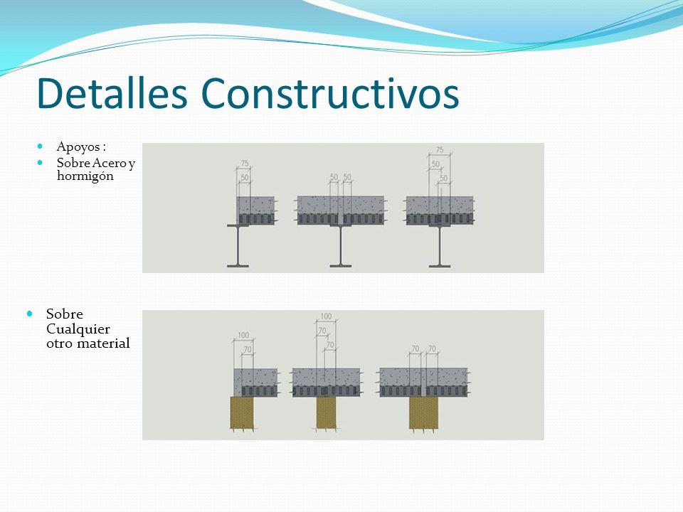 Detalles Constructivos Apoyos : Sobre Acero y hormigón Sobre Cualquier otro material