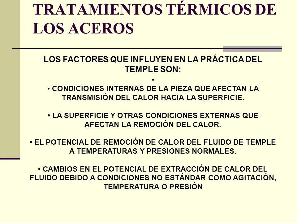 LOS FACTORES QUE INFLUYEN EN LA PRÁCTICA DEL TEMPLE SON: - CONDICIONES INTERNAS DE LA PIEZA QUE AFECTAN LA TRANSMISIÓN DEL CALOR HACIA LA SUPERFICIE.