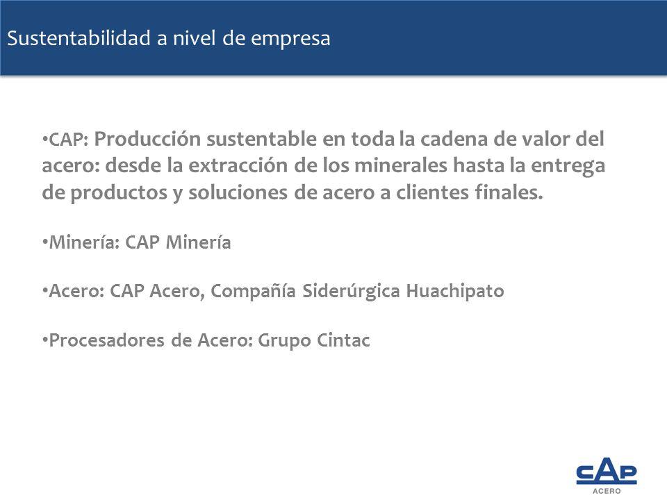 Sustentabilidad a nivel de empresa CAP: Producción sustentable en toda la cadena de valor del acero: desde la extracción de los minerales hasta la ent