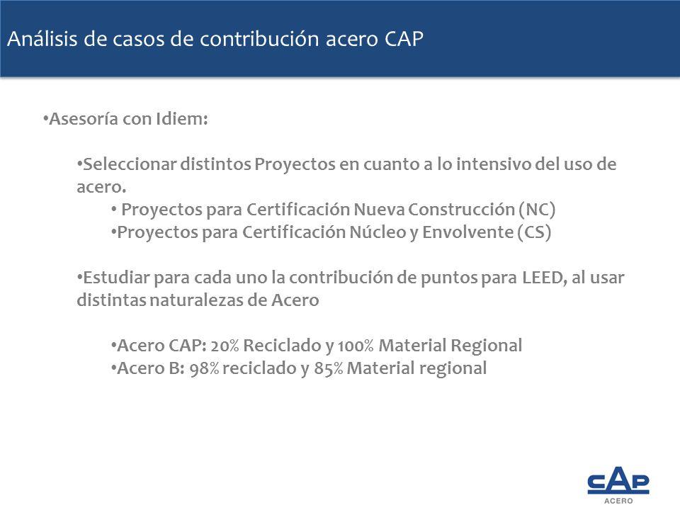 Análisis de casos de contribución acero CAP Asesoría con Idiem: Seleccionar distintos Proyectos en cuanto a lo intensivo del uso de acero. Seleccionar