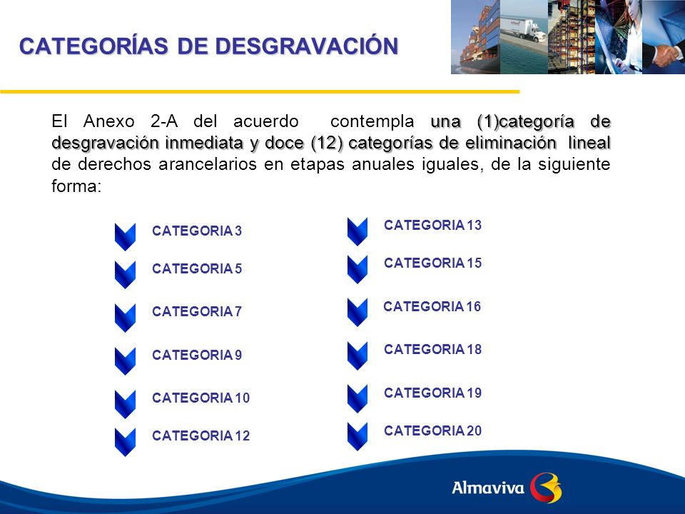 CATEGORÍAS DE DESGRAVACIÓN CATEGORIA 12-A: SE ELIMINARÁN EN DOCE AÑOS, INCLUIDO PERIODO DE GRACIA DE DOS AÑOS CATEGORIA 16-A: SE ELIMINARÁN EN DIESICIES AÑOS, INCLUIDO PERIODO DE GRACIA DE DOS AÑOS CATEGORIA 16-S: ESTARÁN SUJETAS A DISPOSICIONES ESPECIALES CATEGORIA 18-A: SE ELIMINARÁN EN DIECIOCHO AÑOS, INCLUIDO EL PERIODO DE GRACIA DE CINCO AÑOS CATEGORIA E: SE MANTENDRÁN EN SU TASA BASE CATEGORIA X: NO EXISTE NINGUNA OBLIGACIÓN DE DESGRAVACIÓN ARANCELARIA 6 categorías de desgravación El Anexo 2-A del acuerdo contempla 6 categorías de desgravación de derechos arancelarios en condiciones especiales de la siguiente forma:
