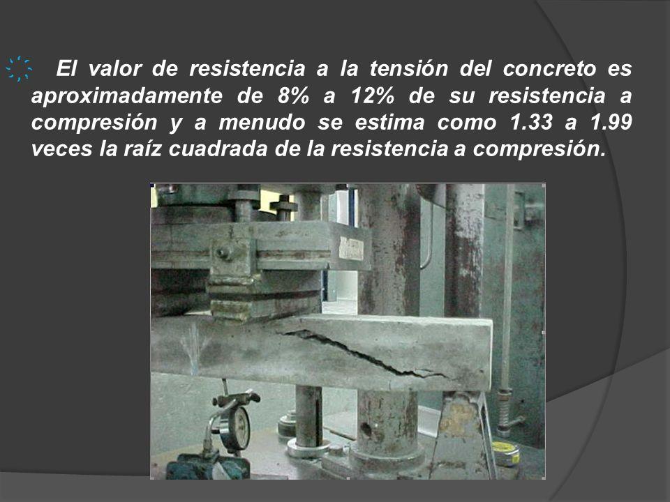 El valor de resistencia a la tensión del concreto es aproximadamente de 8% a 12% de su resistencia a compresión y a menudo se estima como 1.33 a 1.99