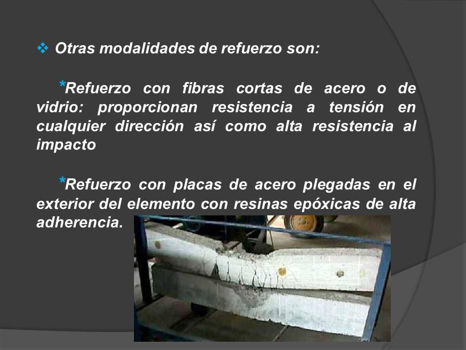 Otras modalidades de refuerzo son: * Refuerzo con fibras cortas de acero o de vidrio: proporcionan resistencia a tensión en cualquier dirección así co