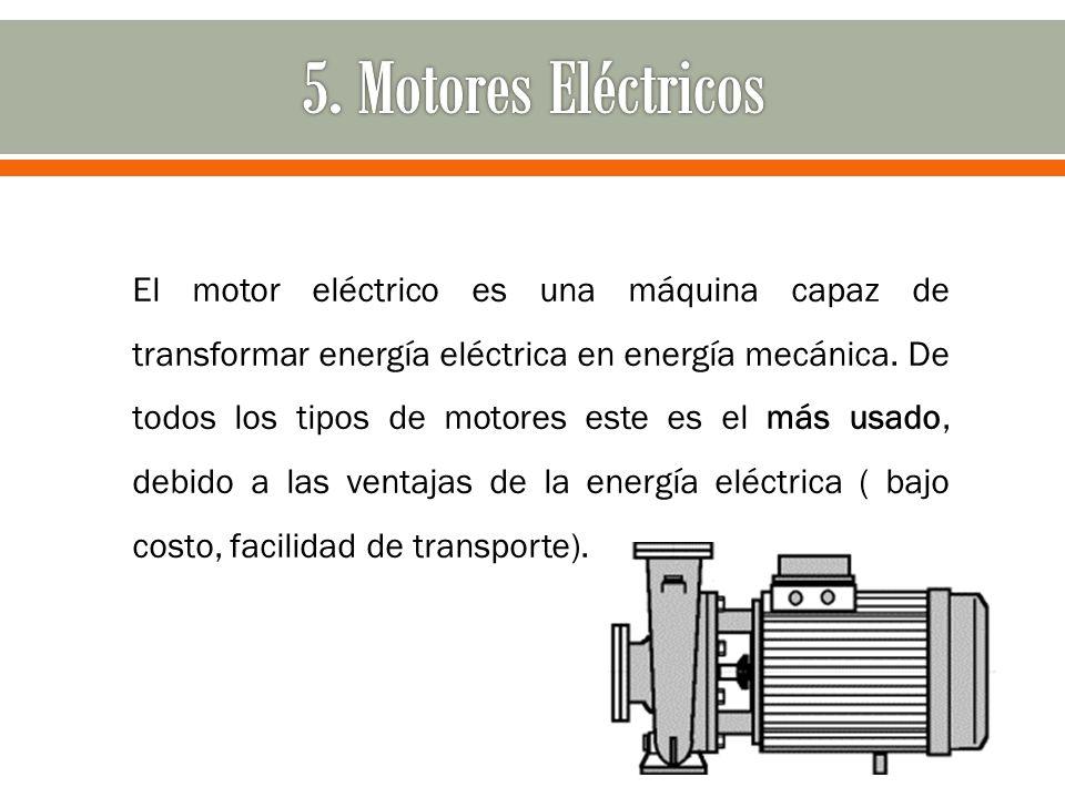 El motor eléctrico es una máquina capaz de transformar energía eléctrica en energía mecánica. De todos los tipos de motores este es el más usado, debi
