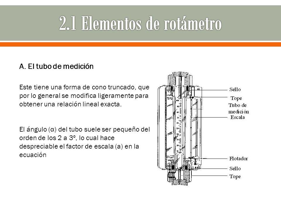 A. El tubo de medición Este tiene una forma de cono truncado, que por lo general se modifica ligeramente para obtener una relación lineal exacta. El á