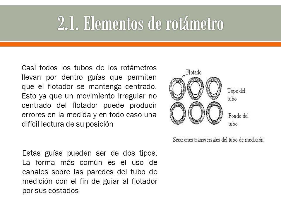 Casi todos los tubos de los rotámetros llevan por dentro guías que permiten que el flotador se mantenga centrado. Esto ya que un movimiento irregular