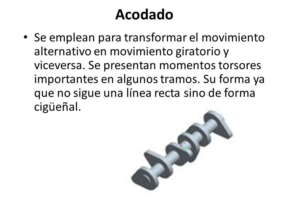 Acodado Se emplean para transformar el movimiento alternativo en movimiento giratorio y viceversa. Se presentan momentos torsores importantes en algun