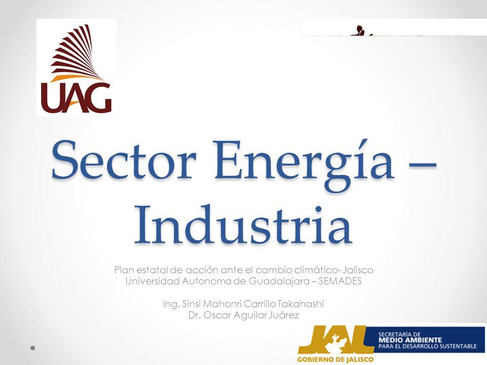 Sector Energía – Industria Plan estatal de acción ante el cambio climático- Jalisco Universidad Autonoma de Guadalajara – SEMADES Ing. Sinsi Mahonri C