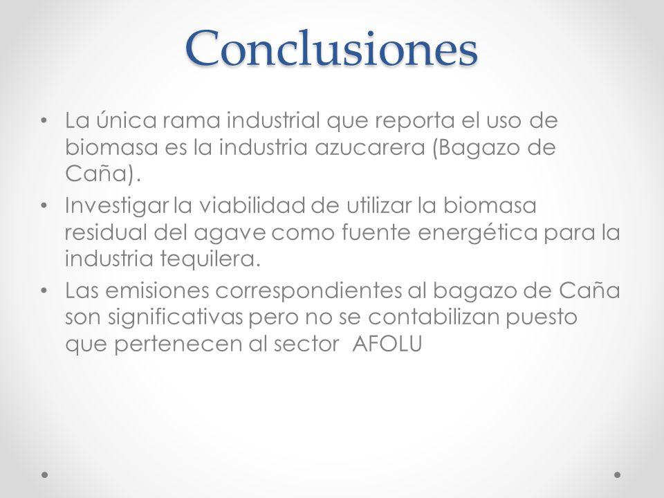 Conclusiones La única rama industrial que reporta el uso de biomasa es la industria azucarera (Bagazo de Caña). Investigar la viabilidad de utilizar l