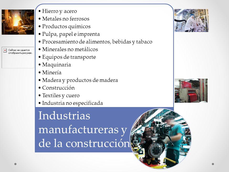 Hierro y acero Metales no ferrosos Productos químicos Pulpa, papel e imprenta Procesamiento de alimentos, bebidas y tabaco Minerales no metálicos Equi
