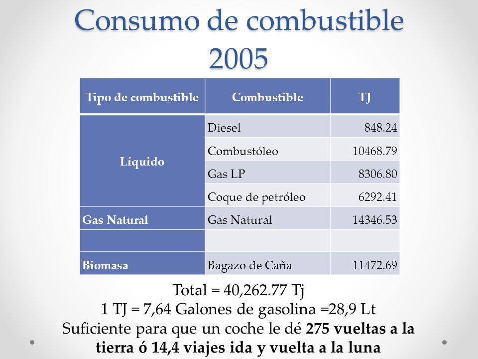 Consumo de combustible 2005 Tipo de combustibleCombustibleTJ Líquido Diesel848.24 Combustóleo10468.79 Gas LP8306.80 Coque de petróleo6292.41 Gas Natural 14346.53 BiomasaBagazo de Caña11472.69 Total = 40,262.77 Tj 1 TJ = 7,64 Galones de gasolina =28,9 Lt Suficiente para que un coche le dé 275 vueltas a la tierra ó 14,4 viajes ida y vuelta a la luna
