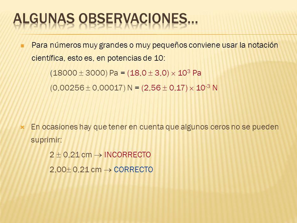 En ocasiones hay que tener en cuenta que algunos ceros no se pueden suprimir: 2 0,21 cm INCORRECTO 2,00 0,21 cm CORRECTO Para números muy grandes o muy pequeños conviene usar la notación científica, esto es, en potencias de 10: (18000 3000) Pa = (18,0 3,0) 10 3 Pa (0,00256 0,00017) N = (2,56 0,17) 10 -3 N