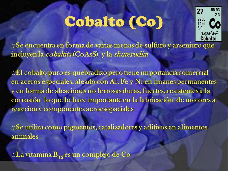Cobalto (Co) o Se encuentra en forma de varias menas de sulfuro y arseniuro que incluyen la cobaltita (CoAsS) y la skuterudita o El cobalto puro es qu