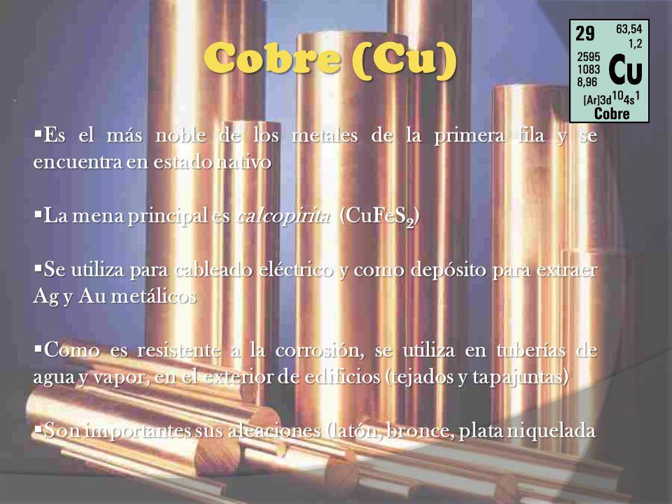 Cobre (Cu) Es el más noble de los metales de la primera fila y se encuentra en estado nativo Es el más noble de los metales de la primera fila y se en