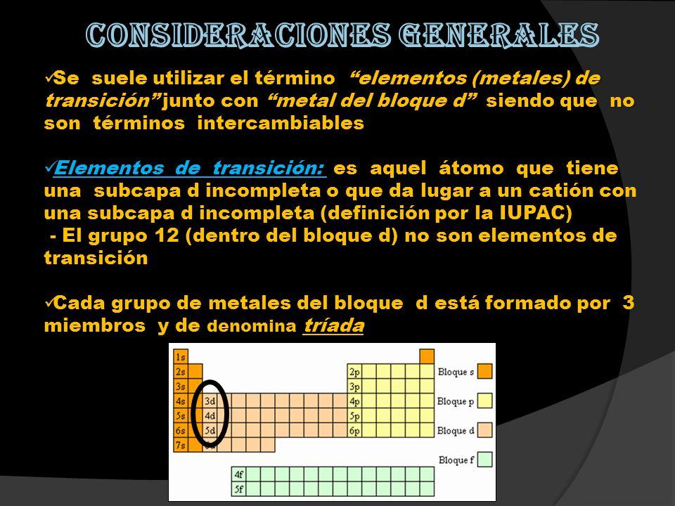 Se suele utilizar el término elementos (metales) de transición junto con metal del bloque d siendo que no son términos intercambiables Se suele utiliz