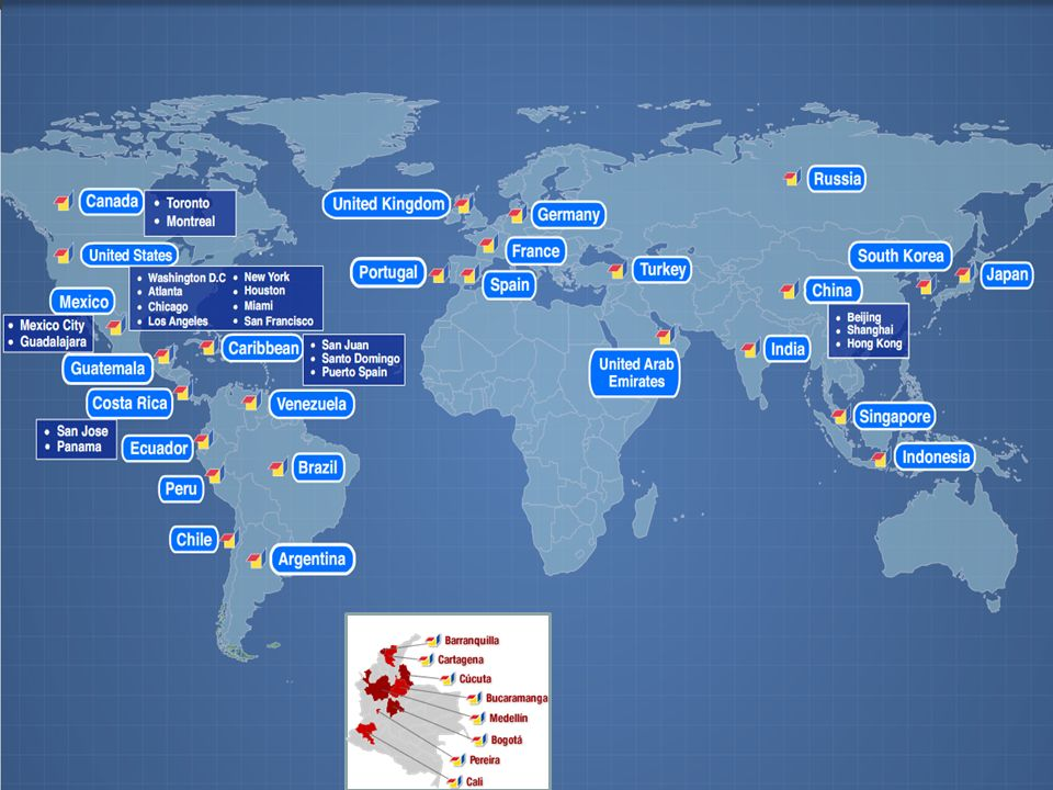 Proexport around the world: 28 offices overseas and 8 local offices