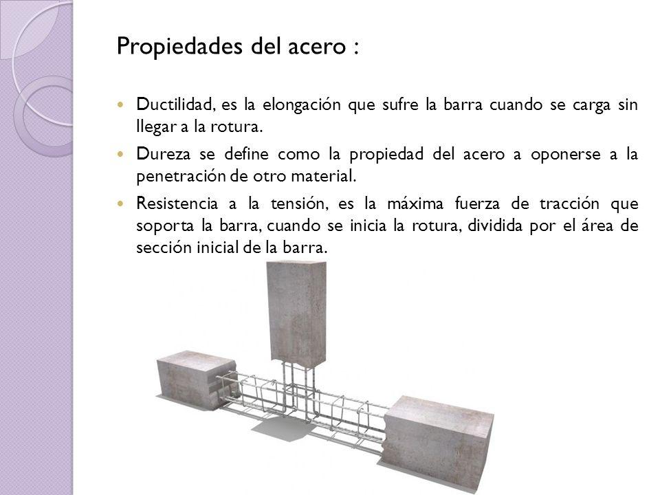 Propiedades del acero : Ductilidad, es la elongación que sufre la barra cuando se carga sin llegar a la rotura. Dureza se define como la propiedad del