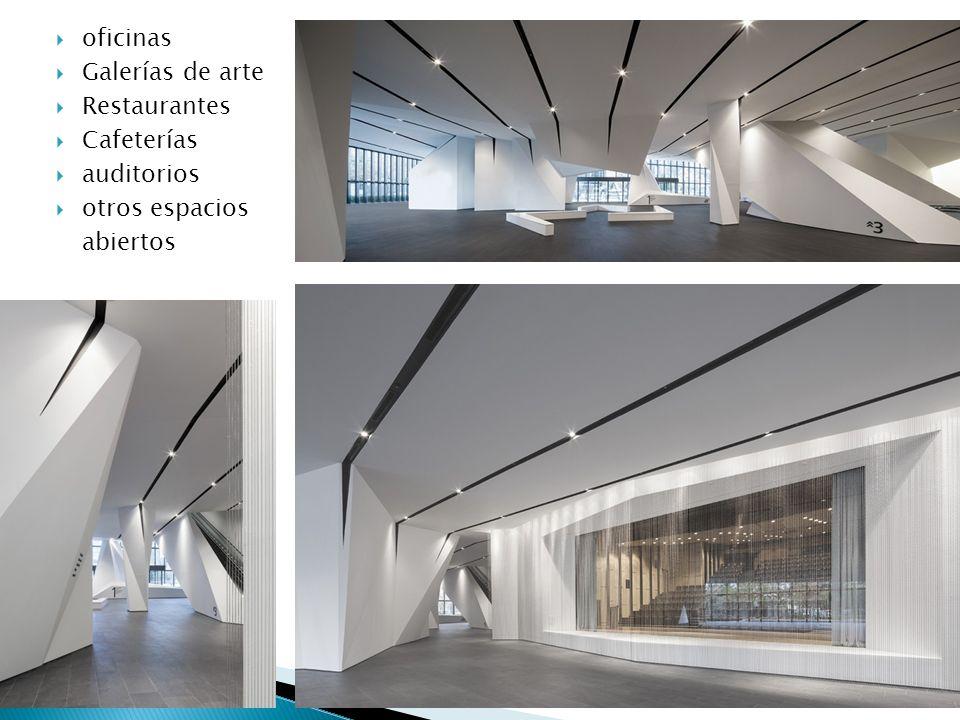 oficinas Galerías de arte Restaurantes Cafeterías auditorios otros espacios abiertos