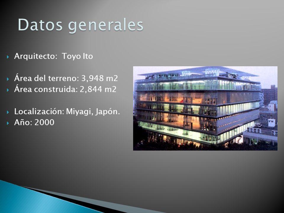 Arquitecto: Toyo Ito Área del terreno: 3,948 m2 Área construida: 2,844 m2 Localización: Miyagi, Japón. Año: 2000