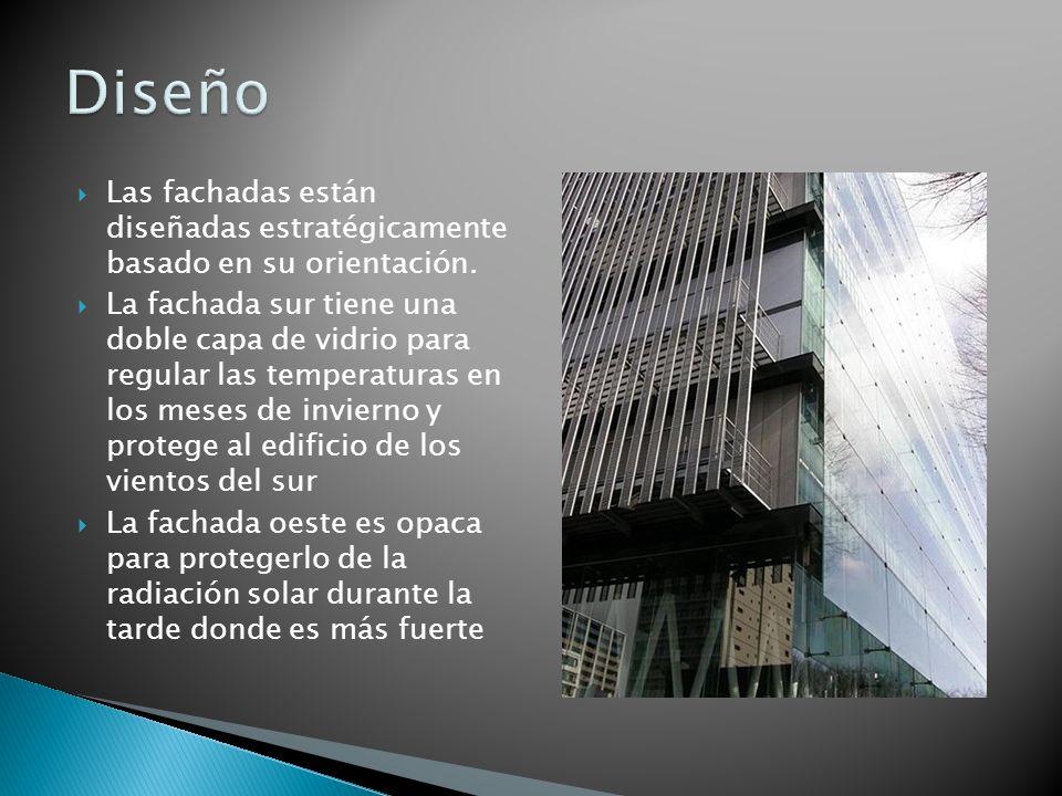 Las fachadas están diseñadas estratégicamente basado en su orientación. La fachada sur tiene una doble capa de vidrio para regular las temperaturas en