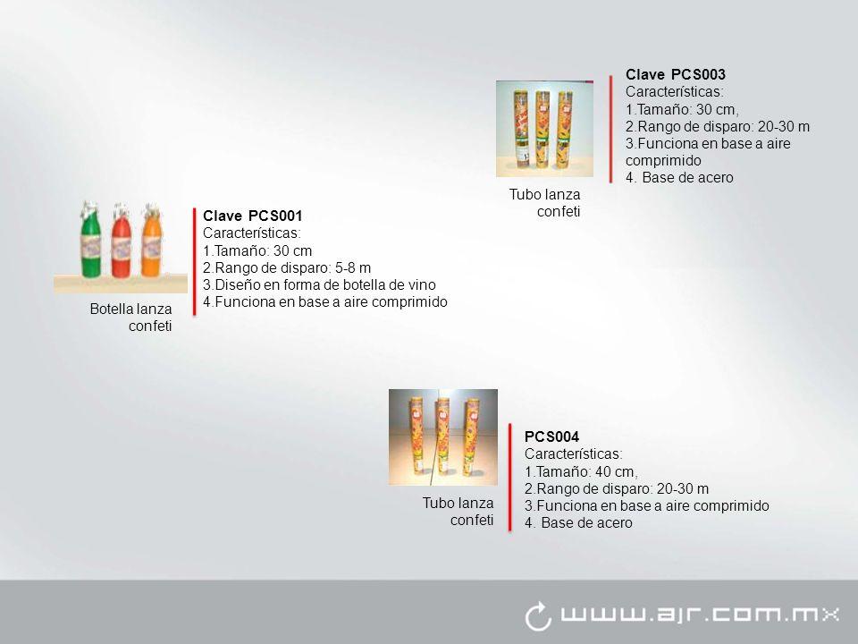Clave PCS001 Características: 1.Tamaño: 30 cm 2.Rango de disparo: 5-8 m 3.Diseño en forma de botella de vino 4.Funciona en base a aire comprimido Bote
