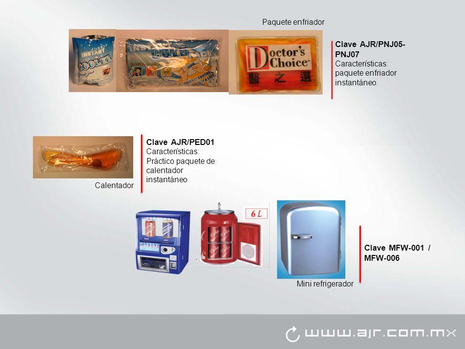 Calentador Clave AJR/PED01 Características: Práctico paquete de calentador instantáneo Paquete enfriador Clave AJR/PNJ05- PNJ07 Características: paque