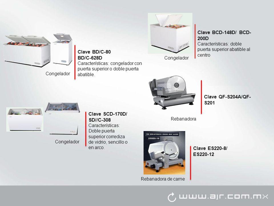 Congelador Clave BD/C-80 BD/C-628D Características: congelador con puerta superior o doble puerta abatible. Congelador Clave BCD-148D/ BCD- 200D Carac