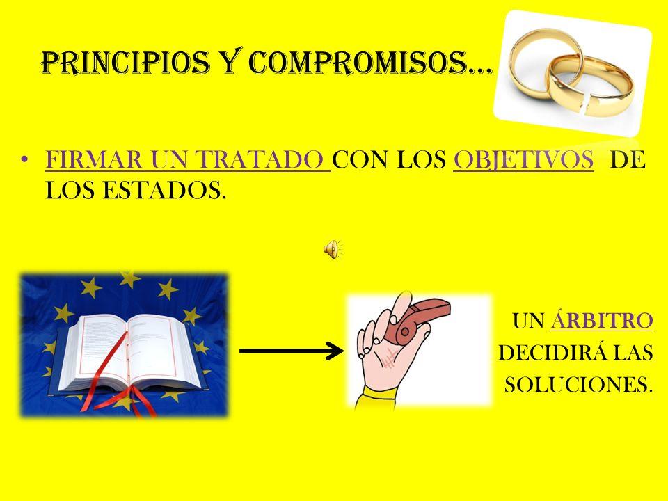 PRINCIPIOS Y COMPROMISOS… FIRMAR UN TRATADO CON LOS OBJETIVOS DE LOS ESTADOS.