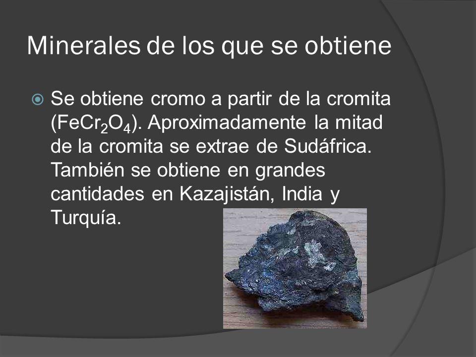 Minerales de los que se obtiene Se obtiene cromo a partir de la cromita (FeCr 2 O 4 ). Aproximadamente la mitad de la cromita se extrae de Sudáfrica.