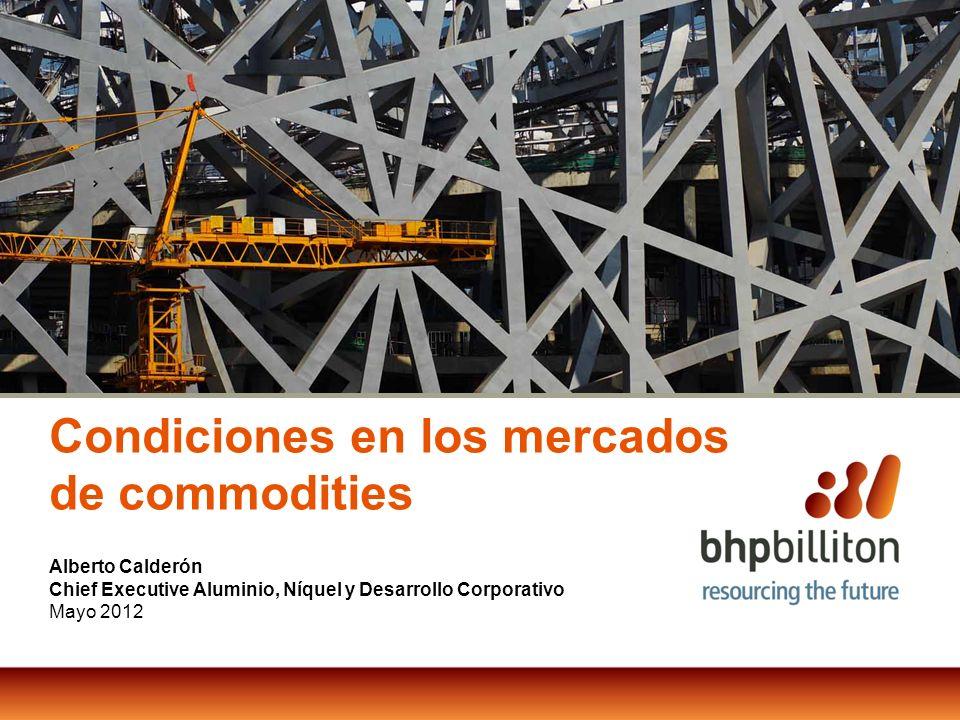 Alberto Calderón Chief Executive Aluminio, Níquel y Desarrollo Corporativo Mayo 2012 Condiciones en los mercados de commodities